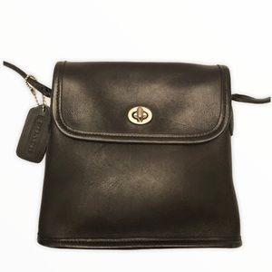 Coach vintage black leather tango bag nickel 9049